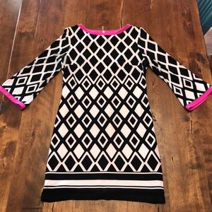 Black and White Tunic with Hot Pink Trim